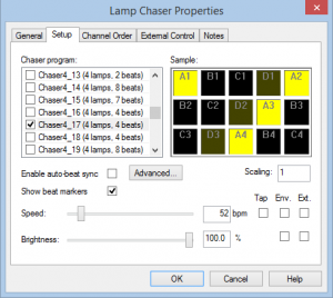 Capture 22 Lamp Chaser Properties
